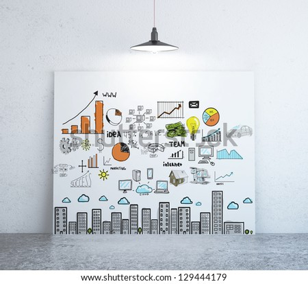 poster with business concept on wall - stock photo