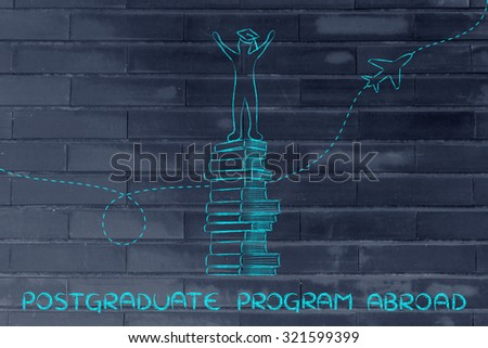 postgraduate program abroad: happy graduated student on top of books with airplane in the background - stock photo