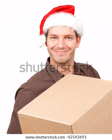 Postman delivering christmas presents and gifts - stock photo