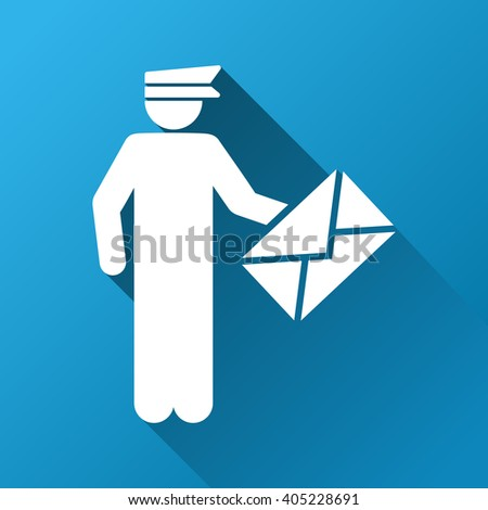 Postman glyph toolbar icon for software design. Style is a white symbol on a square blue background with gradient long shadow. - stock photo