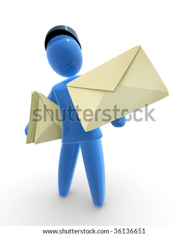 Postman holds envelopes. - stock photo