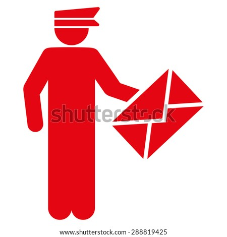 Postman icon from Business Bicolor Set. This flat raster symbol uses red color, rounded angles, and isolated on a white background. - stock photo