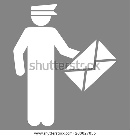 Postman icon from Business Bicolor Set. This flat raster symbol uses white color, rounded angles, and isolated on a gray background. - stock photo