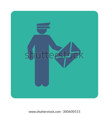 Postman icon. This flat rounded square button uses cobalt and cyan colors and isolated on a white background. - stock photo