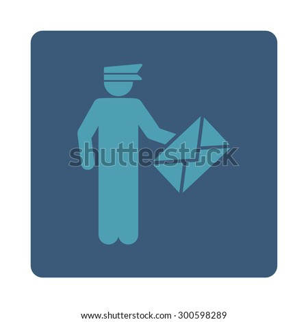 Postman icon. This flat rounded square button uses cyan and blue colors and isolated on a white background. - stock photo