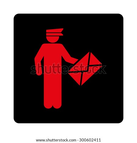 Postman icon. This flat rounded square button uses intensive red and black colors and isolated on a white background. - stock photo