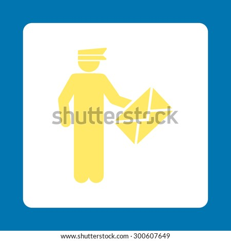 Postman icon. This flat rounded square button uses yellow and white colors and isolated on a blue background. - stock photo