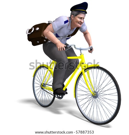 postman on a bike. 3D rendering with clipping path and shadow over white