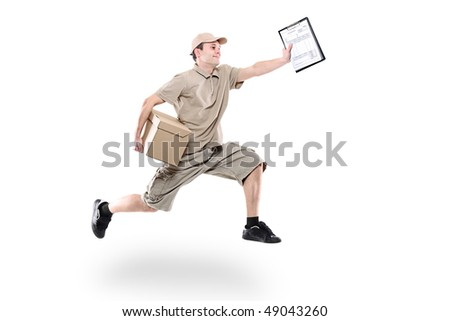 Postman on a hurry delivering package isolated on white