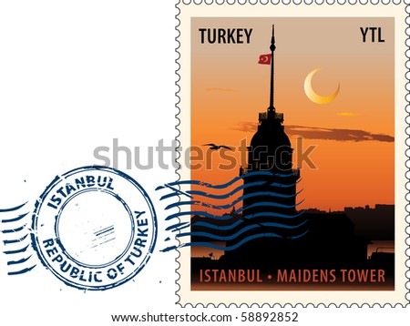 Postmark with night sight of  the Maidens Tower in Istanbul against sunset sky
