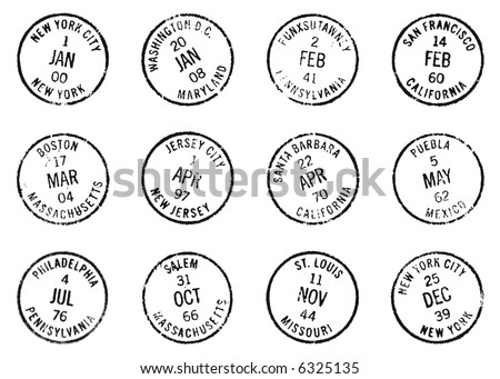 postmarks from US holidays during special years - stock photo