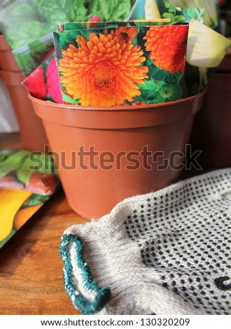 Pot and seeds packets - stock photo