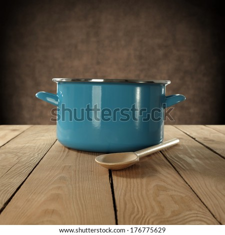 pot and spoon  - stock photo