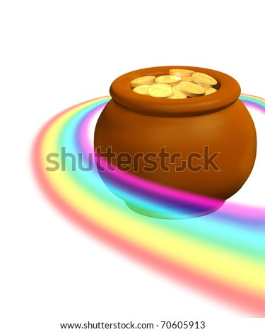 Pot, filled with gold coins. Isolated over white