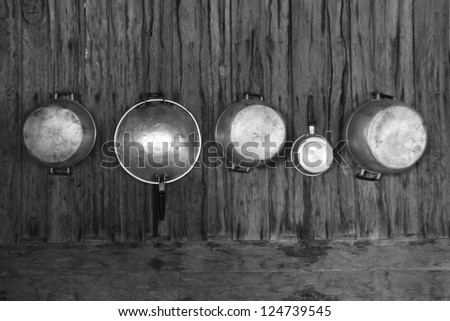 pot hanging on the wall - stock photo
