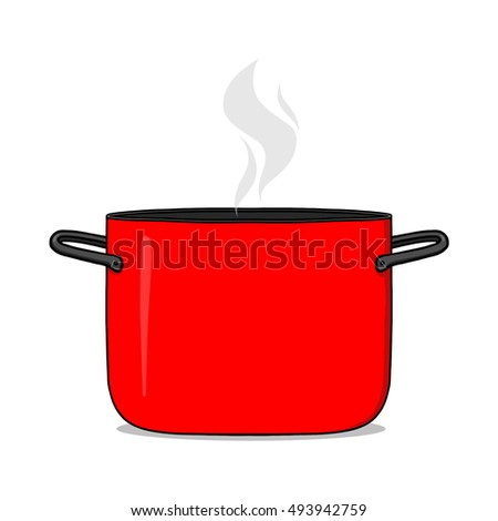 Pot illustration; Hot cooking pot illustration