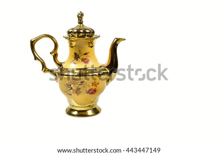 pot kettle porcelain yellow gold plated.