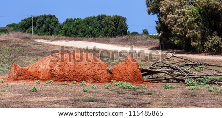 pot makes from soil - stock photo