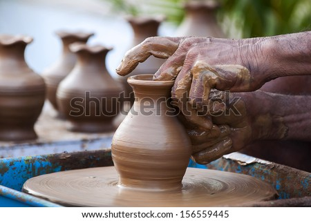 Pot Making - stock photo