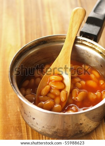 pot of baked beans - stock photo