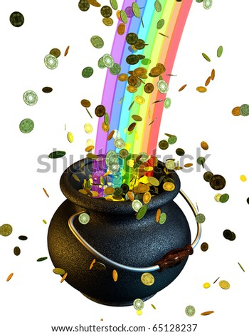 Pot of gold coins at the end of the rainbow 3d