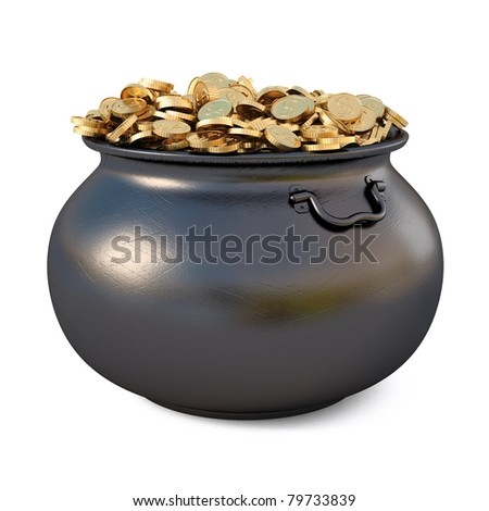 Pot of gold coins. isolated on white. - stock photo