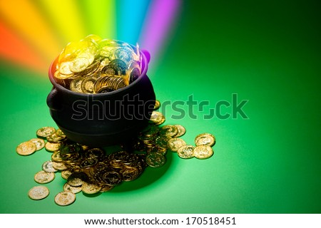 Pot Of Gold: Magical Treasure with Rainbow - stock photo
