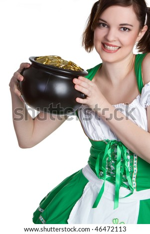 Pot of Gold Woman - stock photo
