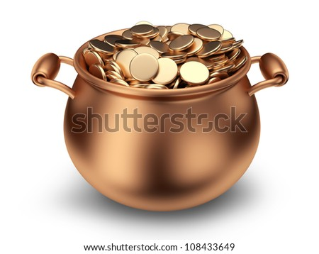 Pot of golden coins. Traditional holiday. 3D Icon isolated - stock photo