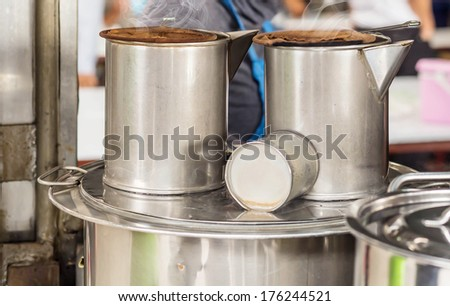 Pot of hot coffee ,coffee-pot