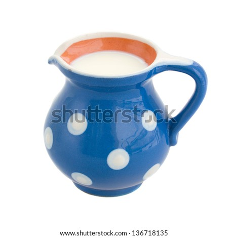 pot  of milk isolated on white background - stock photo