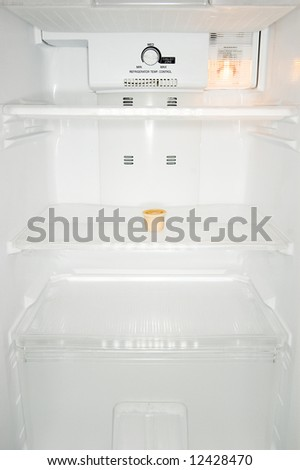 pot of sauce in refrigerator - stock photo