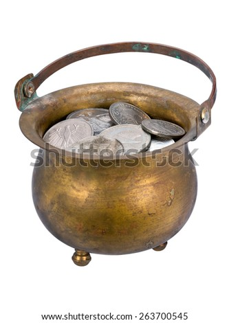 Pot of silver coins isolated on a white background - stock photo