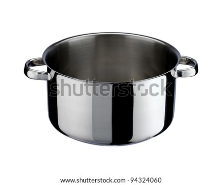 pot of steel stainless, isolated on white background