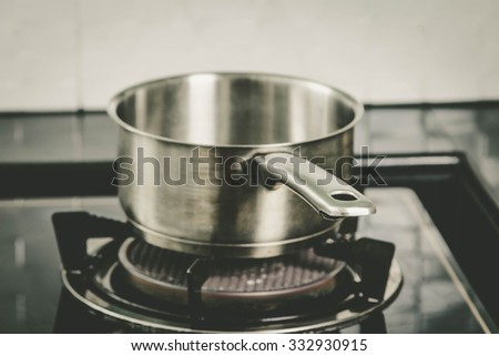 pot on gas stove in the kitchen