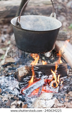 pot on the fire - stock photo