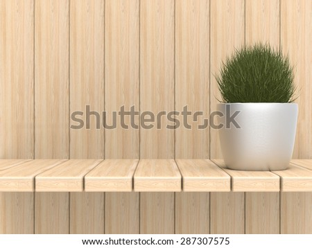 pot plant with wooden backdrop - stock photo