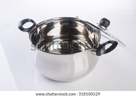 pot stainless steel pot on background - stock photo
