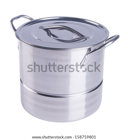 Pot. Stainless steel pot on the background.