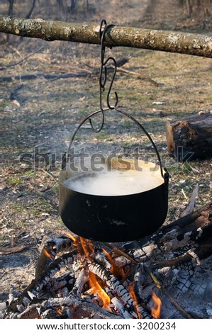 pot wit boiling water on the fire in camping