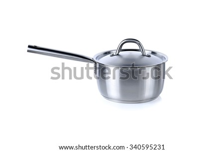 pot with lid and handle on white background