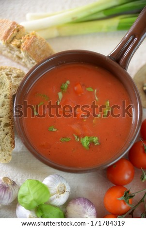 pot with tomato soup or sauce