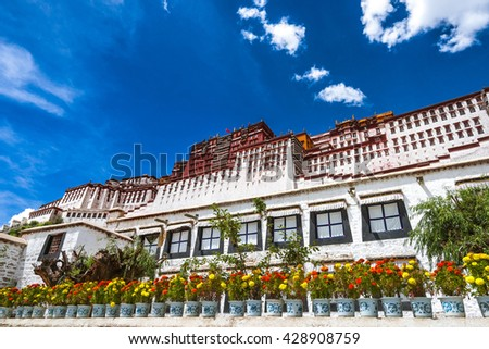 Potala palace and the flowers at the bottom - stock photo