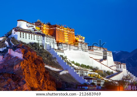 Potala Palace at dusk in Lhasa, Tibet - stock photo