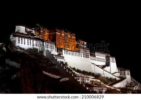 Potala palace at night - stock photo