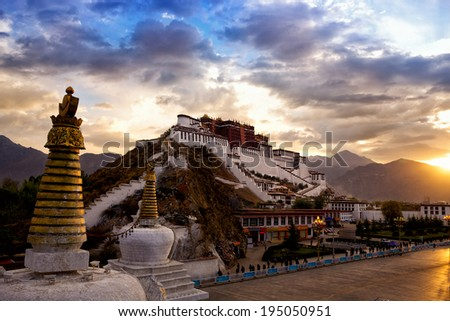 Potala palace at sunrise in Lhasa, Tibet - stock photo