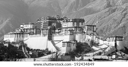 Potala Palace in Lhasa, Tibet, former home of the Dalai Lama - stock photo