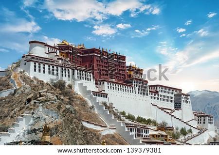Potala Palace in Lhasa ( Tibet ) with beautiful sky - stock photo