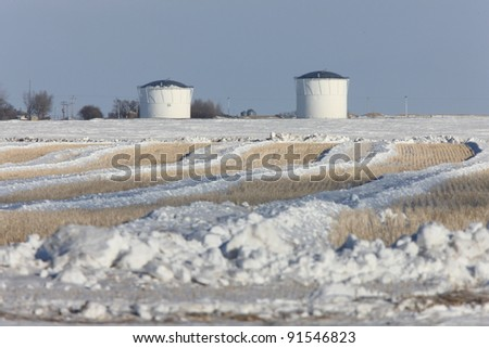 Potash Mine in Winter at Sunset - stock photo