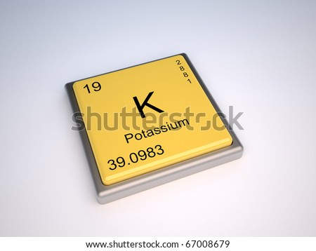 Potassium chemical element of the periodic table with symbol K - stock photo